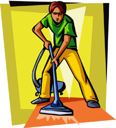 Carpet cleaner man, clip art